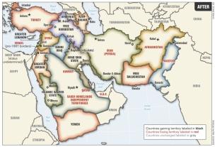 Iraq map, three parts