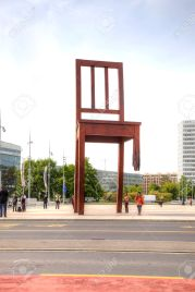 Geneva. Chair, symbol of prohibition of personnel mines and cass